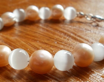 Pink fresh water pearl and cats eye bracelet