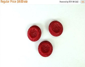 ON SALE Set of 3 Vintage Red Bakelite Buttons for supplies/creativity/Destash/Antique buttons*