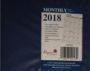 Dark Blue Vinyl 2018 Monthly Planner / Organizer