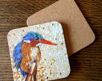 COASTER Malachite Kingfisher Coaster - Bird Art - Kingfisher Mosaic Art - Bird Coaster - Glass Coasters - Housewarming Gift Bird Lover
