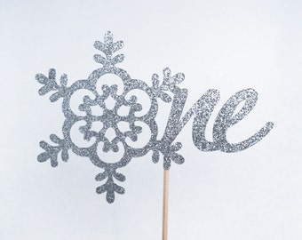 Snowflake One Birthday Cake Topper, 1st Birthday Cake Topper, One Cake Topper, Snowflake Cake Topper, Winter Wonderland Topper, 1st Birthday