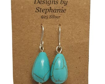 Turquoise Coloured Howlite Gemstone 925 Sterling Silver Teardrop Earrings - Designs by Stephanie
