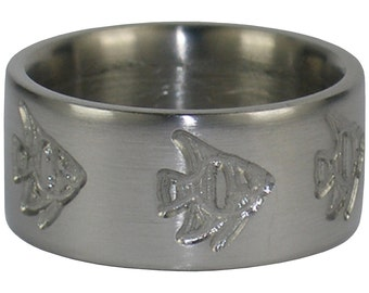 Titanium Ring Band with Fish Engravings