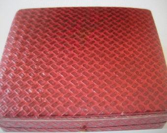 antique box,..faux leather box for ring, locket, chain or charm