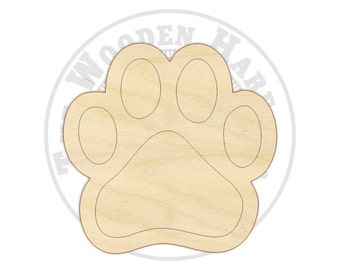 """4"""" - 12"""" Paw Wood Cut Out - 170222 - Unfinished wood, Various sizes"""