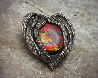 Radiant Red Ammolite Bronze PMC  Necklace.