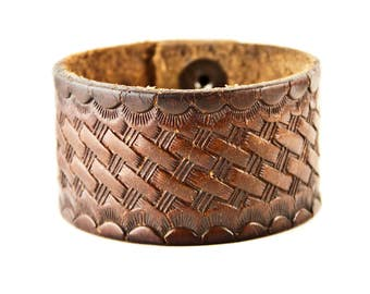 Vintage Tooled Leather Bracelet Brown Cuff Wristband