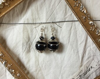 Wood copper wire and glass Pearl Earrings