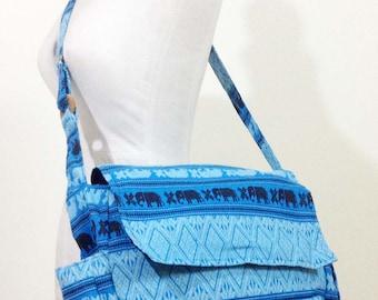 Blue Elephant Messenger Bag Woven Bag Crossbody Bag Camera Bag Boho Bag Cotton Shoulder Bag Tribal Purse bike messenger bags
