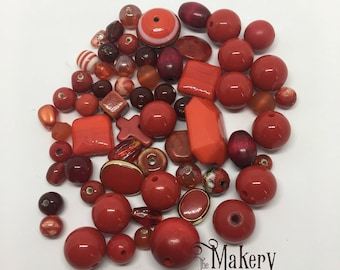 Red bead mix, 60 beads, glass, resin, ceramic, plastic, wooden