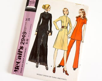 Vintage 1970s Womens Size 14 Dress or Tunic and Pants McCalls Sewing Pattern 2949 FACTORY Folds / b36 w27