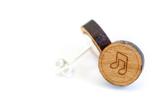 Eigthnote stud earring wooden earring gift for him or her like this item negle Choice Image