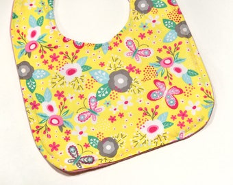Girl Bib Toddler Bib 1st Birthday Bib Baby Items Baby Bibs Girl Baby Accessories Toddler Drool Bib Flowers and Butterflies