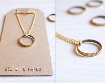 Minimalist Geometric Faceted Brass Circle Necklace & Ring