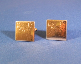 Vintage Cufflinks by Swank Gold Tone  With Vine Engraved Design