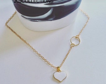 White  Heart & Circle Necklace, Bridesmaid gift, Love, Dainty, Girls