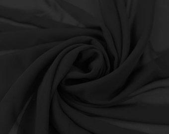 Black Solid Hi-Multi Chiffon Fabric by the Yard, Chiffon Fabric, Wedding Chiffon, Lightweight Chiffon Fabric - Style 500