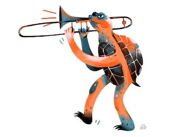 8x10 - Turtle Playing Trombone - Art Print