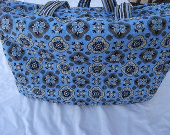 Blue Quilted Diaper Bag