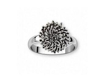 Chrysanthemum Ring Jewelry Sterling Silver Handmade Flower Ring CRY2X-R
