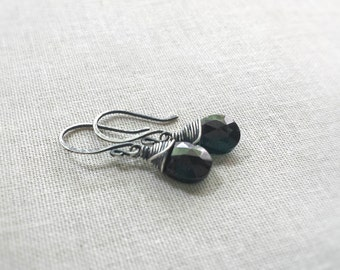 Oxidized Silver and Black Spinel Petite Drops: Oxidized Sterling Silver Wire Wrapped Faceted Black Spinel Briolettes Handmade Dainty