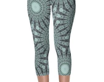 Capri Leggings, Nature Inspired Green Boho Yoga Pants, Forest Green and Mint Green Mandala Art Leggings