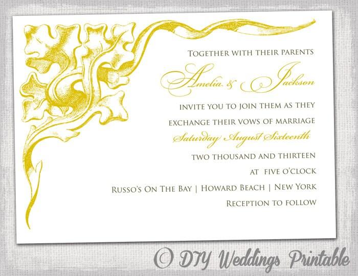 Yellow Wedding Invitation | Wedding Invitation Template Gold Corner Scroll