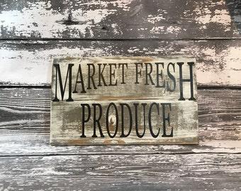 Market Fresh Produce Sign , Market Sign , Market Fresh Sign , Farmers Market Sign , Farmhouse Sign , Farmhouse Decor , Kitchen Sign