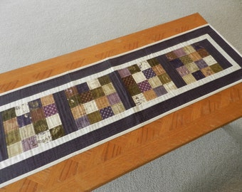 Plum table runner, plum dresser scarf, quilted table runner, spring table runner, fabric table runner, patchwork table runner  Item #379