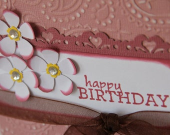 Embossed Birthday Card with Flowers, Flower Birthday Card for Women or Girls, Happy Birthday Card (EBD1505)