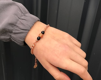 "Made to order! Solid copper rolo chain and black onyx bracelet with stamped ""7"" tag, adjustable length, Perth Western Australia"