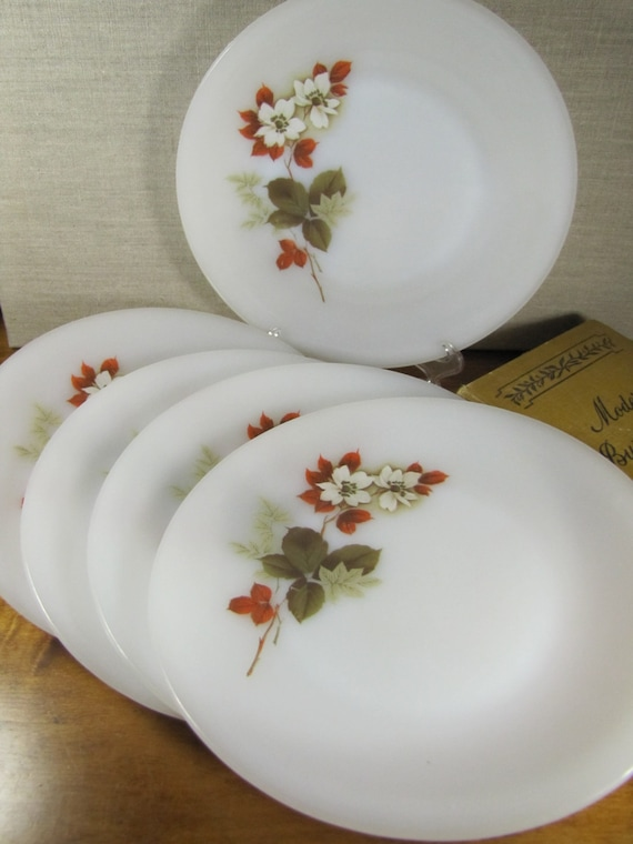 & Arcopal Dinner Plates Milk Glass White Flowers Red and