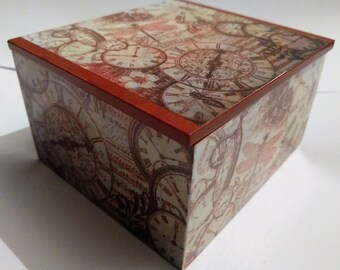 Steam Punk Trinket Box - Steam Punk Jewelery Box - Decoupage Trinket Box