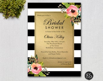 Bridal Shower Invitation, Black Stripes, Gold with Flowers, PRINTABLE INVITATION #10526