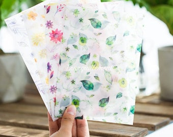 Set Of 8 Colorful Green Pink Yellow Flower Floral Plants Leaves Invitation Cards Translucent Paper Envelopes
