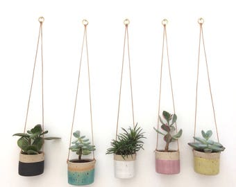 PRE-ORDER FOR 11th May shipping - Pink handmade ceramic stoneware hanging planter, small