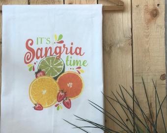Tea Towel, Flour Sack Towel, Summer Kitchen Decor, Sangria Wine Towel, Oranges Strawberries Limes Lemons, housewarming gift, bridal gift