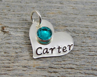 Hand Stamped Jewelry - Personalized Jewelry - Charm For Necklace - Sterling Silver Heart - Name & Birthstone