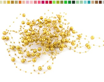 Set of 5 garlands of 1.30 resin beads m long each gold 687