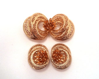 Corocraft Gold Plated Filigree Brooch Clip on Earrings Set Signed