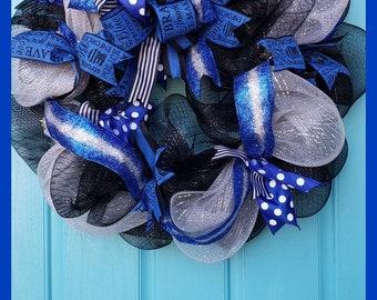 Police Support Deco Mesh Wreath-deco mesh wreath mesh wreath home decor housewares door wreath police wreath police support badge