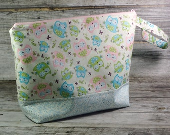 Pretty Pastel Owls Large Knitting Project Bag - Bright Large Project Bag - Zippered Project Bag - Crochet Project Bag - Birds - Owl