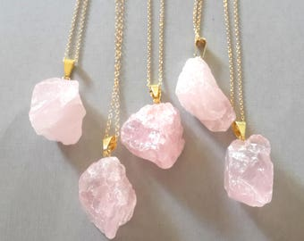 Raw Rose Quartz Crystal Necklace on Gold Fill Chain