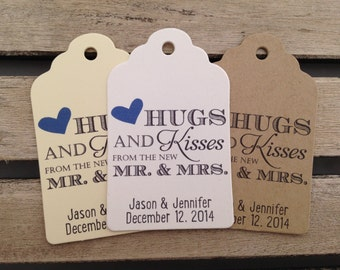 Wedding Gift Tags - Hugs and Kisses From the New Mr. and Mrs. - Wedding Favor Tags - Customizable Personalized (WT1454)