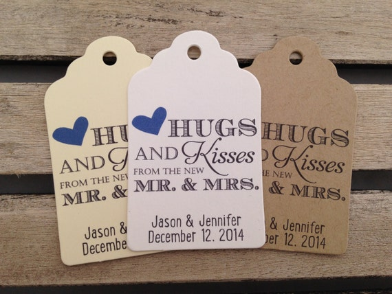 wedding gift tags hugs and kisses from the new mr and mrs