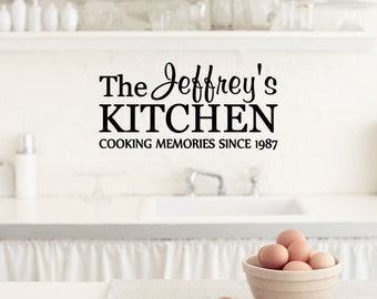 Custom Kitchen Cooking Memories Since Vinyl Decal - Kitchen Vinyl Wall Art Decal, Dining Room Decor, Home Decor, Kitchen Cooking, 23x11.2
