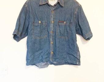 Denim Shirt Vintage Short Sleeve Denim Button Up Shirt Men's Denim Shirt Women's Oversize Denim Blouse Short Sleeve Chambray Shirt Vintage