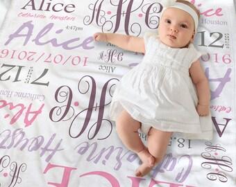 Monogrammed Baby Girl Blanket - Newborn Baby Girl Gift - Baby Shower Gift - Newborn Photo Prop - Personalized Baby Gift - Swaddling Blanket