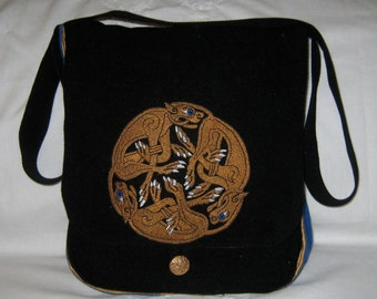 Celtic Zomorphic Dogs Haversack  - wool and silk