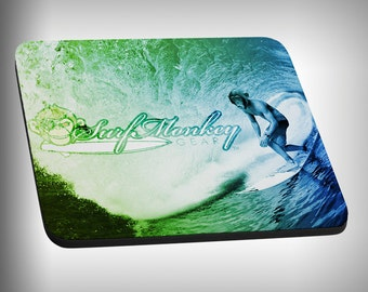 Surfing Chimp Monkey Mouse Pad Custom Graphic Novelty Mousepad Great Gift Customized Personalized